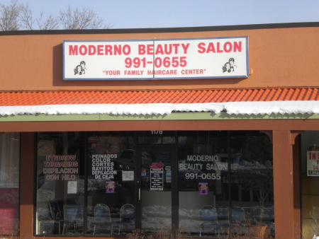 A photo of the storefront of a retail beauty salon.