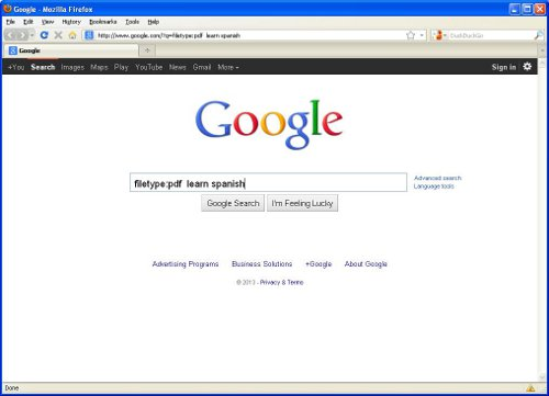 A view of using the filetype operator in Google search.